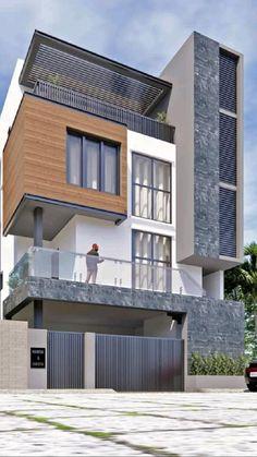 Modern House Facades, Modern Exterior House Designs, Latest House Designs, Modern Architecture House, Architecture Design, Exterior Design, Modern Home Exteriors, Minimal House Design, Bungalow House Design