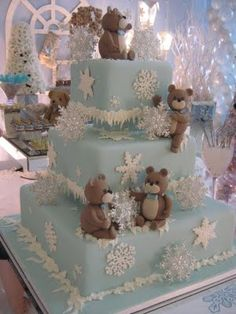 adorable teddy bear cake, perfect for a winter birthday or baby shower.