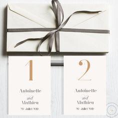 Simple, elegant wedding reception table numbers.   #Wedding #wedding stationery #wedding reception numbers