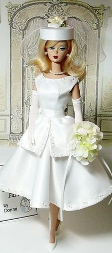 Long Blonde hair Barbie - with Retro style Hat and Dress - Bridal Boutique