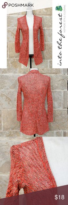 """ZoZo Crochet Orange Silk Cardigan Sweater Small Great Spring addition to your wardrobe! Excellent condition with light wear. Medium weight. Very natural looking (more muted in real life than the photographs). Would be great in an air-conditioned building when you need a light cover. ● Small:  Length 30"""", Armpit to Armpit 16"""" closed all the way (but it doesn't really close at all).     Refer to the """"Meet Mandy"""" picture to compare your size to hers. ● 70% Silk, 30% Cotton. Hand wash, lay flat…"""