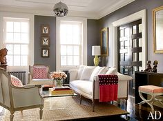 Brooke Shields living room in NYC is also dark – and is also a mix of new and old.