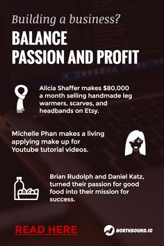 Balance passion and profits. Learn about success stories of people who are earning a living based on doing what they love.
