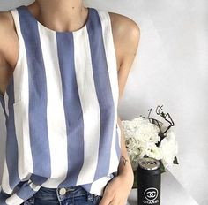 "fashion-clue: "" thestyle-addict: "" Striped Top>> "" www. Style Outfits, Mode Outfits, Summer Outfits, Casual Outfits, Looks Style, Style Me, Mode Inspiration, Mode Style, Pulls"