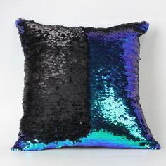 Mermaid Pillow Purple And Turquoise Reversible Sequin