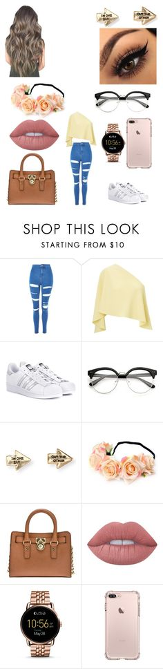 """Untitled #700"" by alexponson ❤ liked on Polyvore featuring Topshop, Roland Mouret, adidas Originals, Aéropostale, MICHAEL Michael Kors, Lime Crime and FOSSIL"