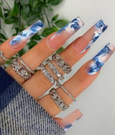 Blue Coffin Nails, Bling Acrylic Nails, Summer Acrylic Nails, Best Acrylic Nails, Dope Nails, Swag Nails, Gorgeous Nails, Pretty Nails, Acylic Nails
