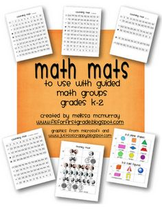 Here are math mats for guided groups. You find mats for counting forward, counting back, skip counting, counting money and identifying shapes.