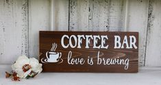 COFFEE BAR love is brewing Self-Standing Rustic Wood Wedding Sign 5 1/2 x 14 on Etsy, $29.95