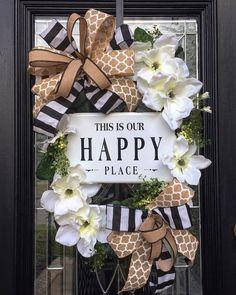 XL Magnolia wreath, Farmhouse Wreath, Happy Place, XL Wreath, Year Around Wreath by MercyWreaths on Etsy Summer Door Wreaths, Easter Wreaths, Holiday Wreaths, Wreaths For Front Door, Spring Wreaths, Front Doors, Magnolia Wreath, Year Round Wreath, Diy Wreath