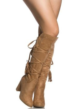 Camel Faux Suede Chunky Knee High Boots