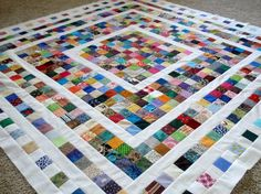 """Scraps!!....perfect for those 2"""" millennium quilt squares I have been hoarding for over a decade, tho I know I don't have nearly as many brights, a sign if the times, since many thought Y2K was going to put us into a kind of """"computerless dark age""""!!"""