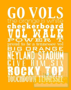 Love this! University of Tennessee Vols Subway Art Scroll Roll Print Poster . 11x14 . $32.00, via Etsy.