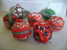 handmade quilted CHRISTMAS ball ORNAMENT lot of 7