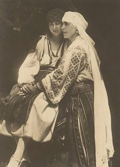 Queen Marie of Romania and her daughter, Princess Ileana. The Royal Family wore the traditional outfits in order to integrate with their adopted country of Romania. Queen Marie was one of the strongest and most visionary ambassadors of the Romanian Blouse