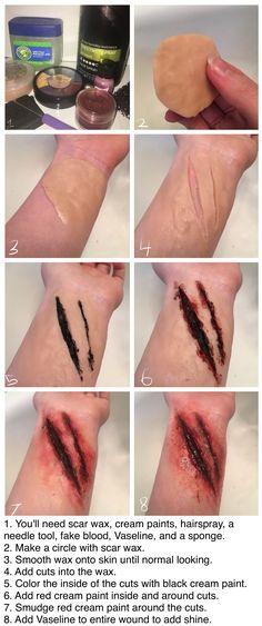 A quick tutorial on cuts :) scar bloody wound Horror Makeup, Zombie Makeup, Scary Makeup, Sfx Makeup, Halloween Kostüm, Halloween Cosplay, Halloween Makeup, Scary Halloween Costumes, Cosplay Makeup