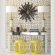 #DavidJimenez #decor yellow gray bronze foyer