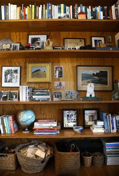Plywood shelves in the family room of the home of Whitman Shenk and Lazuli Whitt. Photo: Michael Macor, The Chronicle