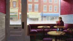 """Paul Schulenburg - Art Gallery Essex art@artessex.comPaul Schulenburg, café premier Aujourd'hui, huile sur toile, 44x60 """""""