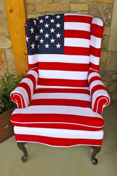 Stars and Stripes Chair  Heavy Cotton by TheCraftyBuggar on Etsy, $1199.00