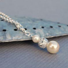 Joyería nupcial collar de perlas diamantes de por AMIdesigns, $28.00