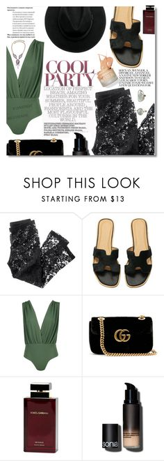 """""""SUMMER NIGHT BEACH PARTY"""" by aanyaa ❤ liked on Polyvore featuring H&M, Boohoo, Gucci, Dolce&Gabbana, Sonia Kashuk and back2school"""
