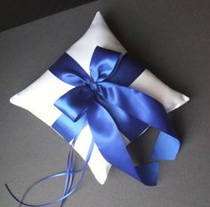 satin ring pillow in sapphire blue by romancingjuliet