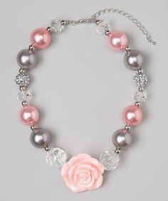 Gray & Light Pink Flower Bead Necklace