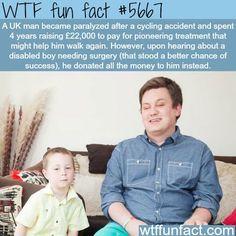 paralyzed man donates money for his surgery wtf fun fact