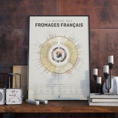 Une affiche qui recense les nombreuses variétés de fromages aux quatre de coins de France. Impression offset sur du papier haute qualité 50 x 70 cm.