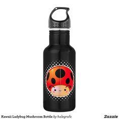 Kawaii Ladybug Mushroom Bottle. Regalos, Gifts. #bottle #botella