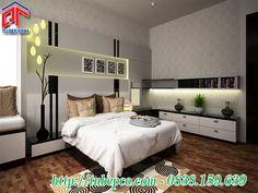 Nội thất phòng ngủ đẹp - Phòng ngủ gam màu trắng đen cá tính, hiện đại PN08