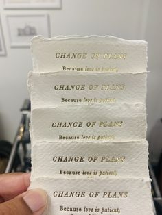 2020 has made many people change their wedding plans. So much heartache and stress for so many couples, and I'm sending you all my love and prayers for better days in the future. We made these cute A7 Change of Plans handmade paper cards with gold foil for a lovely couple getting married in Oct. So happy that they will get to marry in a few weeks :) Calligraphy Wedding Place Cards, Calligraphy Envelope, Wedding Stationery, Wedding Cards, Wedding Invitations, Vow Booklet, Love Is Patient, People Change, Paper Cards