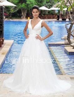 Wedding dress ideas a line satin tulle
