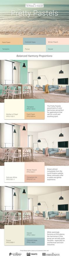 The Pretty Pastels assortment of color harmonies are perfect for applications that call for a soft and soothing spirit. These colors offer a subtle and gentle experience. While seemingly feminine at first glance, the harmonies are actually quite versatile- especially for the architectural and tech industries.