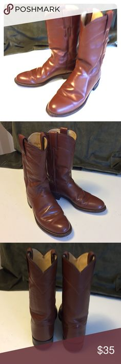Justin Brown Women's Cowgirl Boots Excellent condition. Leather soles. Made in USA. Justin Boots Shoes Heeled Boots