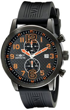 Invicta Men's 11244 Specialty Chronograph Black Carbon Fiber Dial Black Polyurethane Watch *** Check out the watch by visiting the link.