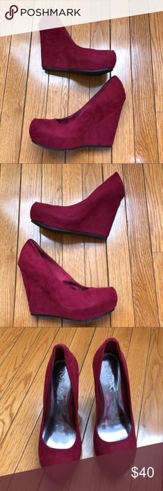 ❤️ NWT MIA Platform Suede Platform Wedge Heels ❤️ MIA  EXCELLENT CONDITION  NEW, UNUSED, NEVER WORN  Sz 7 red, maroon, burgundy  wedge w/ hidden platform heels  Suede platform pump heels. intended to wear these w/ long flare leg jeans for 70s vibe but never did. very small scuff on left shoe from sitting in my closet (see pics) minor - still in EXCELLENT CONDITION!  ⭐️⭐️⭐️⭐️⭐️ Top Rated Seller, Top 10% Seller, Posh Mentor 📦⚡️Fast Shipping Smoke-Free, Pet-Free 🏡 🛍 Bundle discount ⛔️ No…