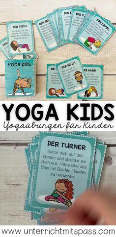 Yogaübungen für Kinder für zwischendurch. Kärtchen und Poster können im Sportunterricht oder für kleine Bewegungspausen in der Schule / im Unterricht eingesetzt werden. Homeschooling, Poster, Physical Education Lessons, Yoga For Kids, Teaching Materials, Cards, Creative, Billboard, Homeschool