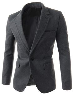 (OSJ15-CHARCOAL) Mens Slim Fit Notched Lapel Single Breasted Chest Pocket 1 Button Blazer