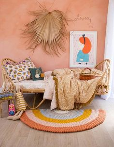 Desert Rainbow Felt Ball Rug is part of Felt ball rug Our brand new range of Rainbow Rugs are made from the softest felt balls which have been hand stitched by our incredible team of female artisans - Girls Bedroom, Bedroom Decor, Felt Ball Rug, Heart For Kids, Little Girl Rooms, Kid Spaces, My New Room, Room Inspiration, Luxury Bedding