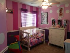 I like this -- only with the stripes: light purple on the bottom and 3 solid light pink walls and then light pink stripes on main wall.