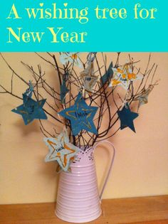 A wishing tree is a great New Years Eve craft to make with children.New years eve activities for kids can make it really special New Year's Eve Crafts, Easy Crafts, Crafts For Kids, Arts And Crafts, Craft Kids, New Years Activities, Craft Activities, Winter Activities, Diy Projects For Adults