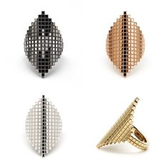 The Long Pixel Rings. Which is your favourite? #francescagrima #jewellery #jewelry #rings #pixel