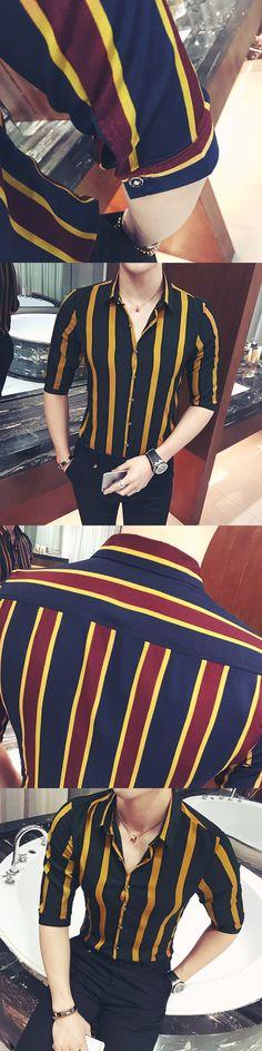 Yellow Striped Tights Shirts Mens British Style Clothing Mens 5XL Wide Camisa Social Club Outfits Mens Slim Fit Shirts Smocking
