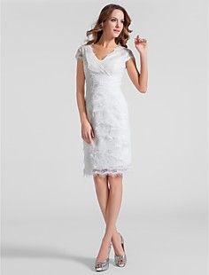 Sheath/Column V-neck Knee-length Lace Cocktail Dress – USD $ 148.49