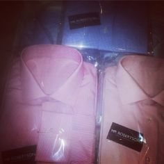 A selection of pastel coloured finely tailored Mr Robertson collared shirts