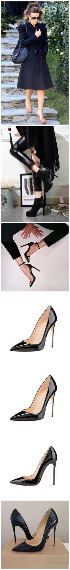 2019 High Heels, Womens Pointed Toe Slip on Stilettos Party Wedding Pumps Basic Shoes Black Wedding Pumps, Elegant Lady, Walk On, Black Shoes, Kitten Heels, High Heels, Slip On, Comfy, Luxury