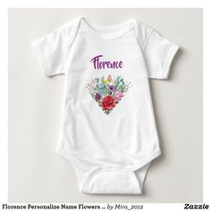 Florence Personalize Name Flowers Twins 2 Hearts Baby Bodysuit #babybodysuits #custombabybodysuits #custombodysuitsfortwins #bodysuitstwins #namebodysuits #namebodysuittwins #customizablebodysuits #customizablebodysuitstwins #florence #florencebodysuit #babybodysuitsnameflowers #babybodysuitsname Baby Monogram, Monogram Wreath, Pink And Green, Purple Daisy, Coral Orange, Pink Yellow, Bright Yellow, Yellow Roses, Mickey And Friends