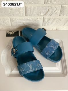 Louis Vuitton lv woman slippers leather slides Louis Vuitton Shoes, Womens Slippers, Espadrilles, Slip On, Sandals, Woman, Leather, Closet, Fashion